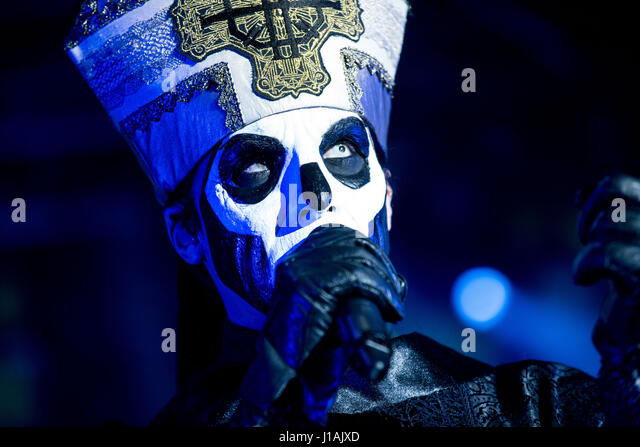 Milan, Italy 19 april 2017 Ghost band perform in Alcatraz.  Ghost is a Swedish heavy metal band that was formed - Stock-Bilder