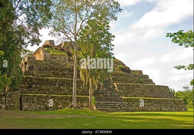 Costa Maya Mexico Chacchoben Mayan ruin overgrown Pyramid - Stock Image