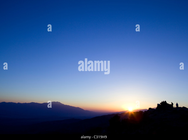 Deep blue sky during sunset from a lookout - Stock Image