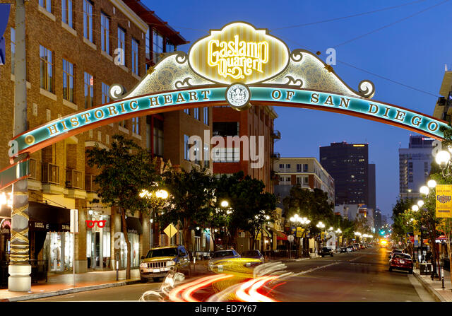 Historic Gaslamp Quarter, San Diego, California USA - Stock-Bilder