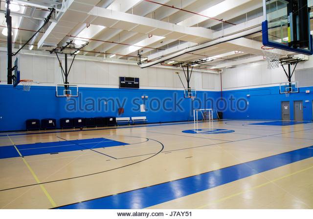 Miami Beach Florida Scott Rakow Community Center gymnasium indoor basketball court empty - Stock Image
