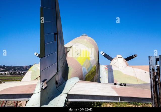 A C-47 cargo plane at the Commemorative Air Force Museum in Camarillo California - Stock Image