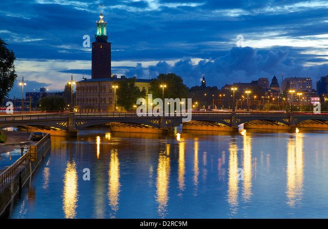 The City Hall at night, Kungsholmen, Stockholm, Sweden, Europe - Stock Image