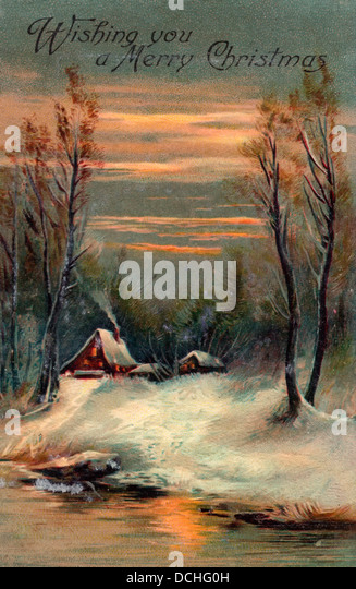 Wishing you a Merry Christmas - Vintage Card with homes alongside lake - Stock Image