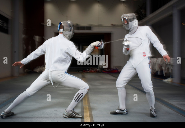 Olympic, armed combat, athleticism in footwork - Stock Image