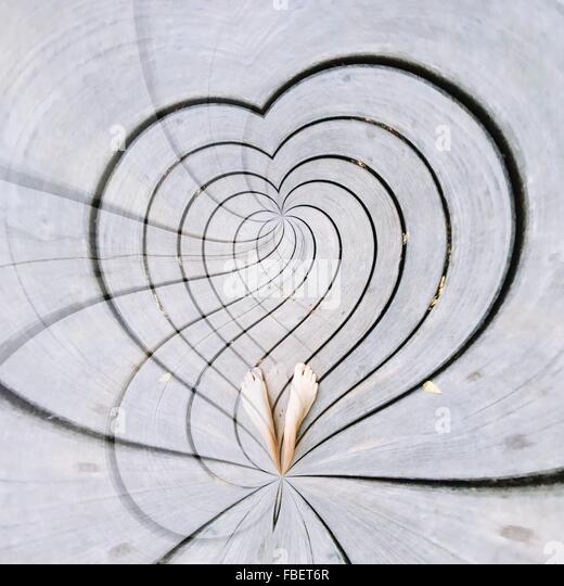 Heart On Sidewalk - Stock Image