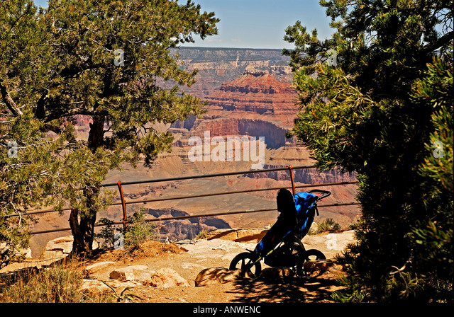 Arizona Grand Canyon National Park rim baby stroller - Stock Image