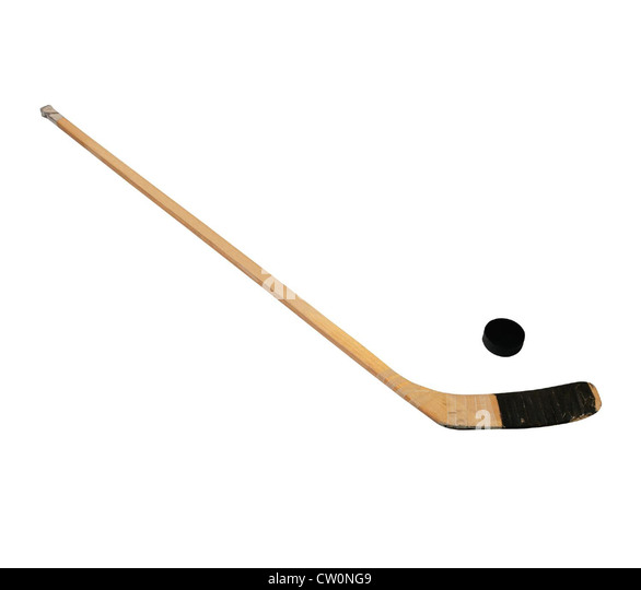 Hockey stick and puck - Stock Image