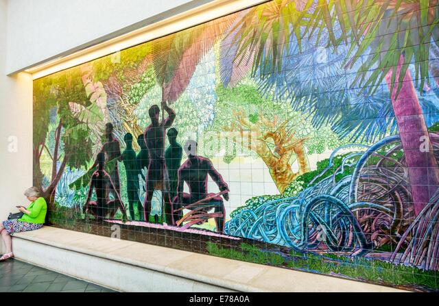 Hawaii Hawaiian Oahu Honolulu Convention Center centre inside interior mural art - Stock Image