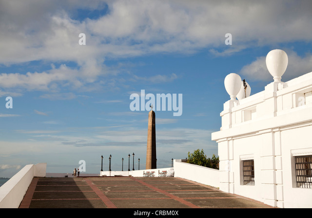Obelisk with the French rooster on Plaza de Francia square in Panama City, Panama, Central America - Stock Image