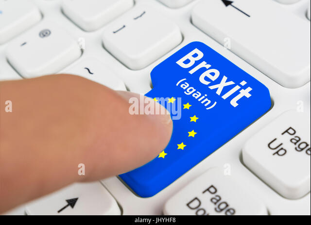 Brexit button showing someone voting for the UK to exit the EU in a 2nd referendum. - Stock Image