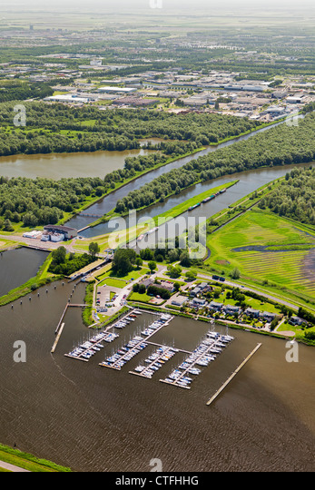 The Netherlands, Almere, Marina and pumping engine called De Blocq van Kuffeler. Aerial. - Stock Image