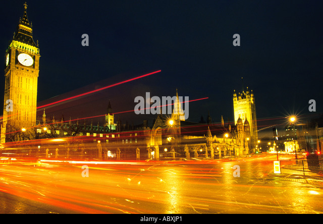 Europe England Great Britain United Kingdom London Parliament Square Houses of Parliament and Big Ben Night - Stock Image