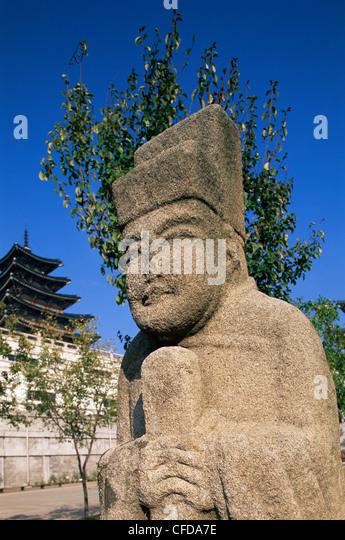 Korea, Seoul, Gyeongbokgung Palace, National Folk Museum, Ancient Korean Stone Statues - Stock Image