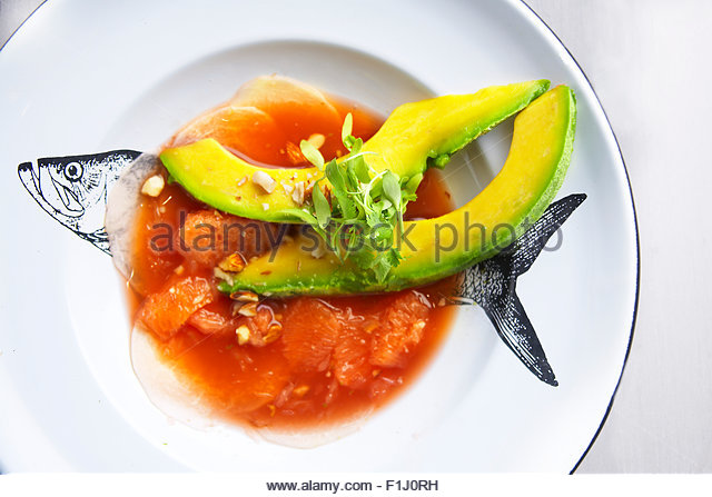 Watermelon Granita Jicama and Florida avocado. - Stock Image