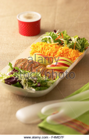 Salad platter with chicken and dressing - Stock Image