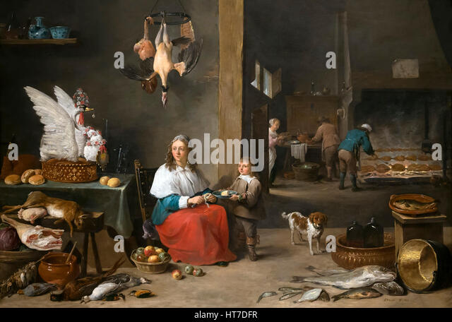 Kitchen Interior, by David Teniers the Younger, 1644, Royal Art Gallery, Mauritshuis Museum, The Hague, Netherlands, - Stock Image