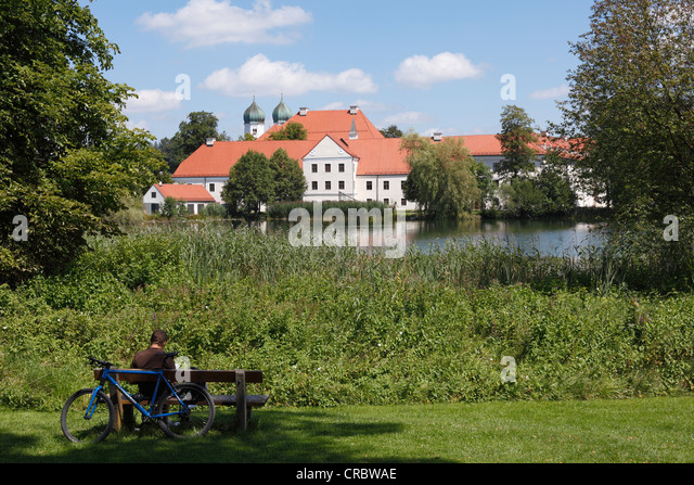 Seeon Abbey and lake, Chiemgau, Upper Bavaria, Bavaria, Germany, Europe, PublicGround - Stock Image