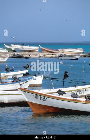 Los Roques Archipelago Venezuela, Gran Roque fishing boats - Stock Image