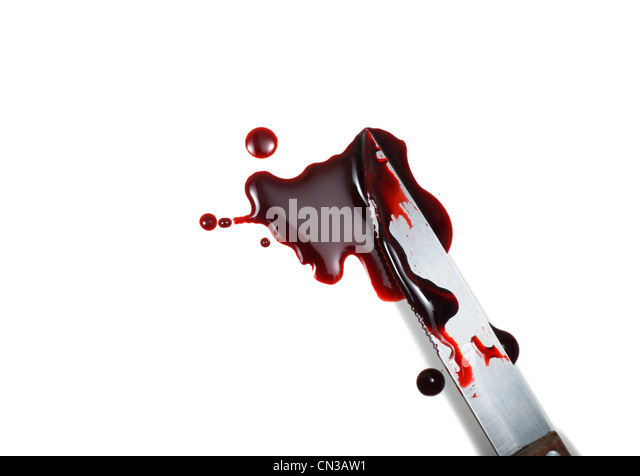 Blood spattered kinfe against white background - Stock Image