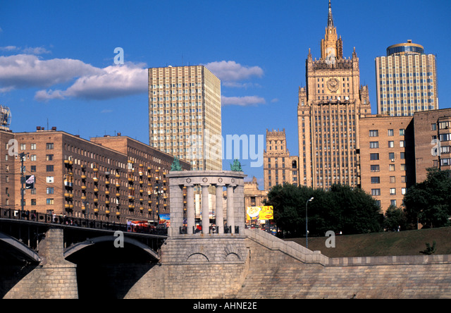 Moscow Russia Skyline from Moscow River - Stock Image