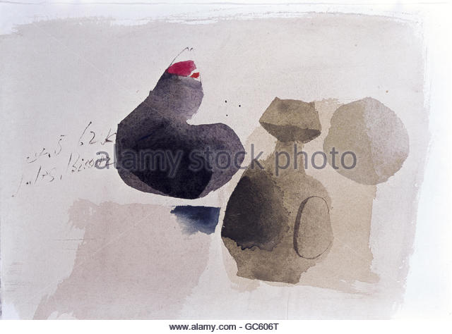 fine arts, Bissier, Julius (1893 - 1965), painting, 25.5.1962, watercolour on paper, 167x239 cm, Northrhine-Westfalia - Stock Image