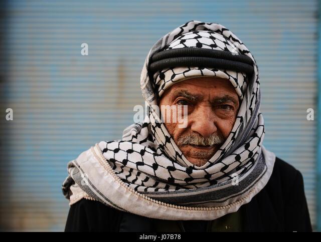 Portrait of a Jordanian man wearing a traditional Keffiyeh. - Stock Image