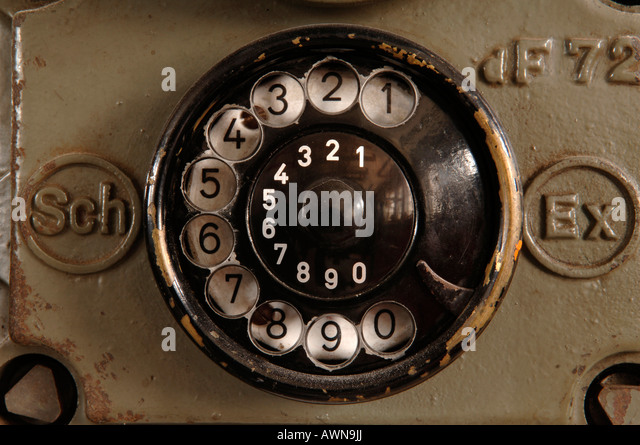 Black rotary dial on a telephone dating to ca. 1950 found in a workshop in Lauf/Pegnitz, Middle Franconia, Bavaria, - Stock Image