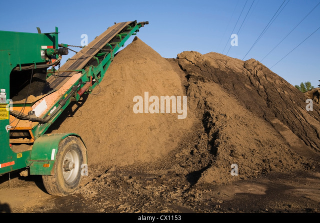 Sand and stacking conveyor in commercial sand pit - Stock Image