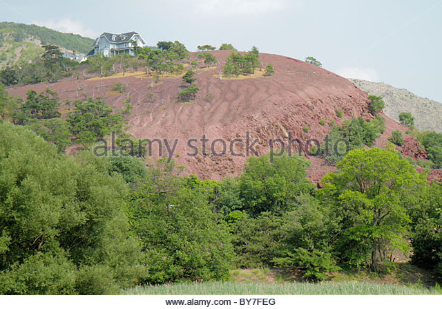 Pennsylvania Palmerton mountain zinc smelting contamination emissions environment contaminated soil hazardous substance - Stock Image