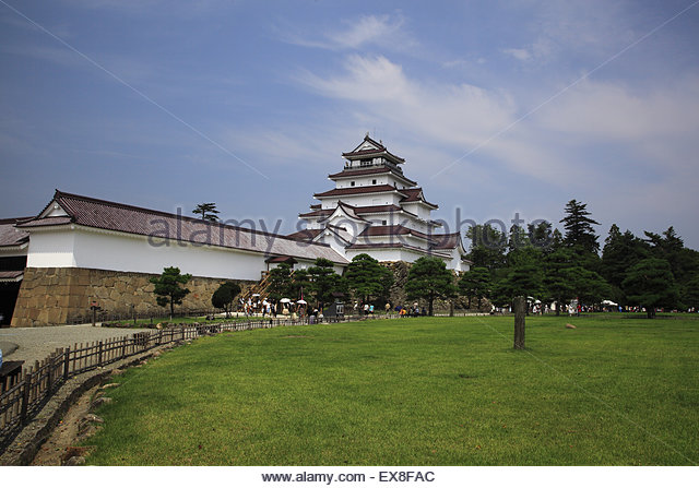 Japan, Tohoku Region, Fukushima Prefecture, Aizuwakamatsu, View of Aizuwakamatsu Castle, Tsuruga Castle. - Stock-Bilder