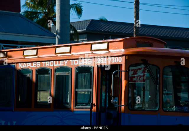 Naples Trolley Naples Florida tourist attraction fl transportation old naples - Stock Image