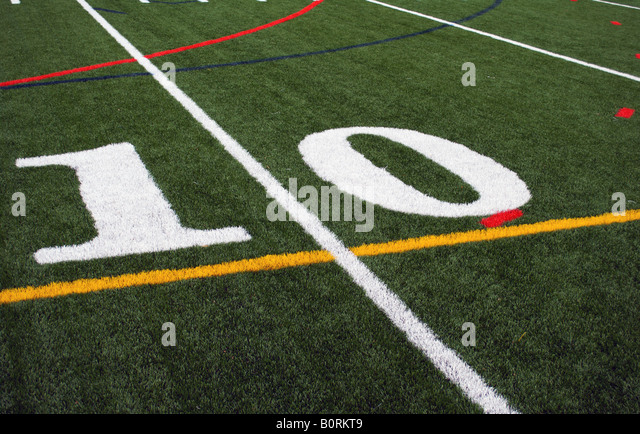 10 yard line on the football field - Stock Image