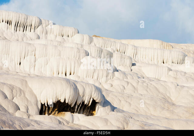 White travertine basins, Pamukkale, UNESCO World Heritage Site, Western Anatolia, Turkey, Asia Minor, Eurasia - Stock Image