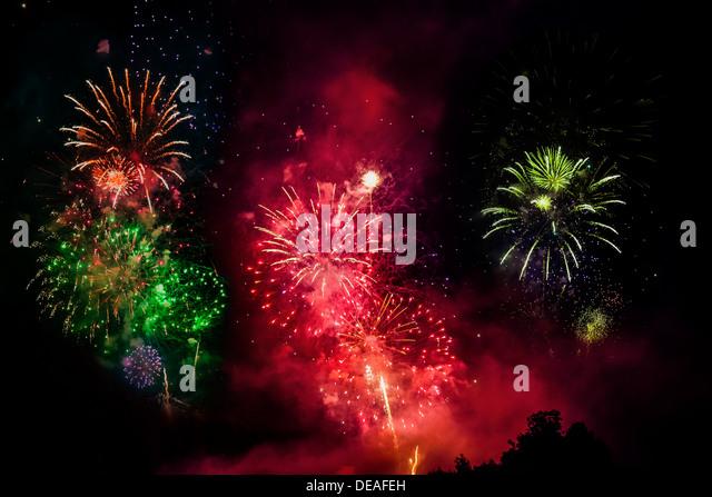 Fireworks, solstice celebrations, Riedenburg, Lower Bavaria, Bavaria, Germany - Stock Image