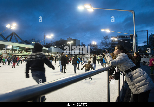 Berlin, Germany, ice skating rink in the Erika Hess Wedding - Stock Image
