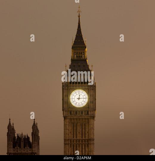 Big Ben clock tower lit up at night - Stock Image