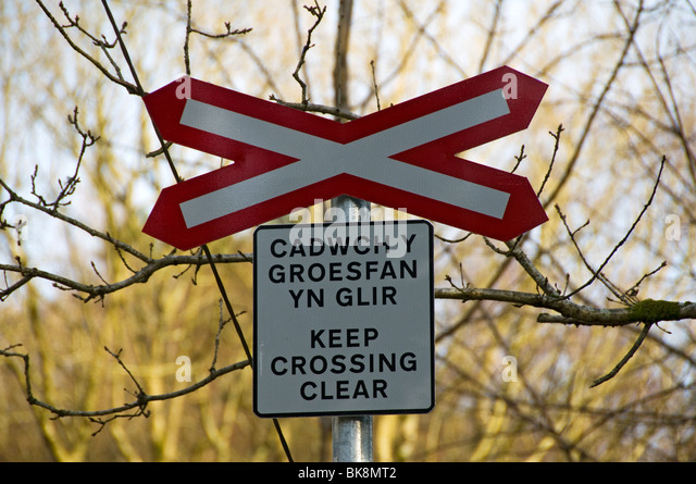 Bilingual Welsh and English warning sign at a level crossing, Welsh Highland Railway, Nantmor, Snowdonia, North - Stock Image