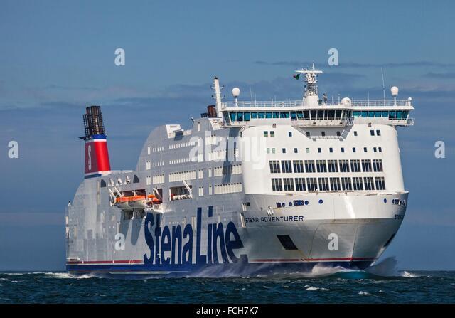 The Stena Lines Stena Adventurer Ro Ro car ferry navigating across Dublin Bay, Dublin, Ireland. - Stock Image