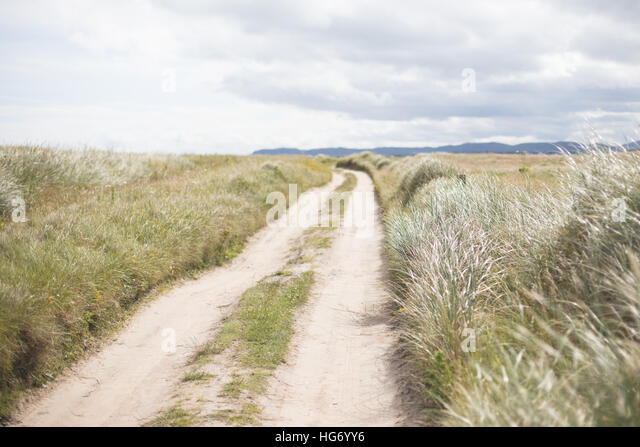 Sand track at magheroarty beach, County Donegal. Ireland - Stock-Bilder