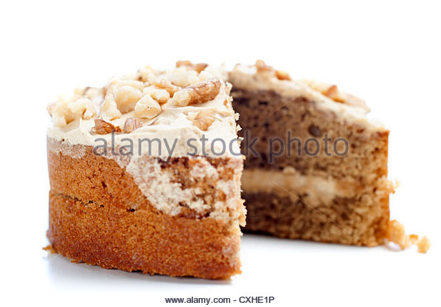 Sliced coffee cake ready for serving - Stock Image