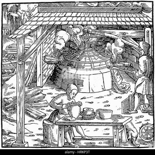 16th Century Silver Mining - Stock Image