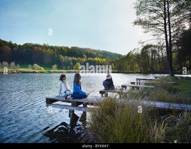 Family enjoying autumnal atmosphere - Stock Image