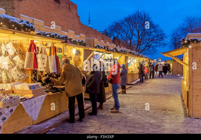 Christmas Fair at the Barbican in the Old Town of  Warsaw, Poland - Stock Image