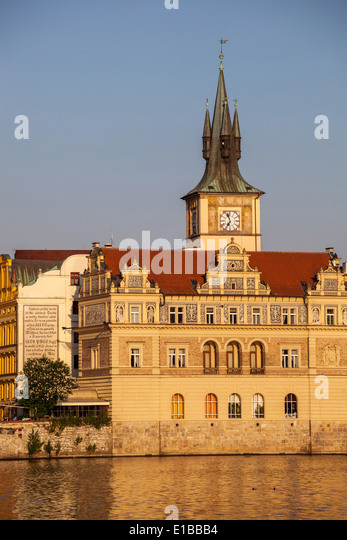 Czech Republic. Prague. Old town view. (B. Smetana museum, Staromestske water tower, Karlovy Lazne, Club Lavka) - Stock-Bilder
