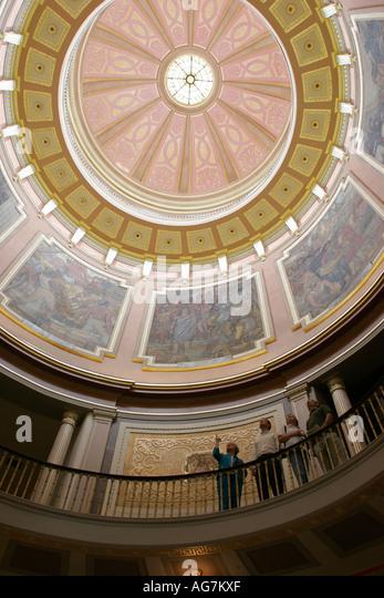 Montgomery Alabama State Capitol Building rotunda murals dome - Stock Image