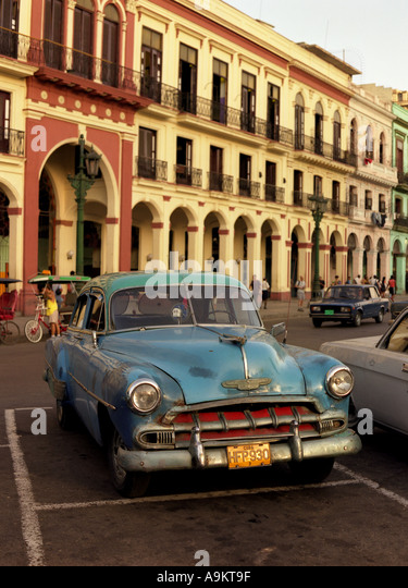 Light blue vintage car parked in Havana Prado Cuba - Stock Image