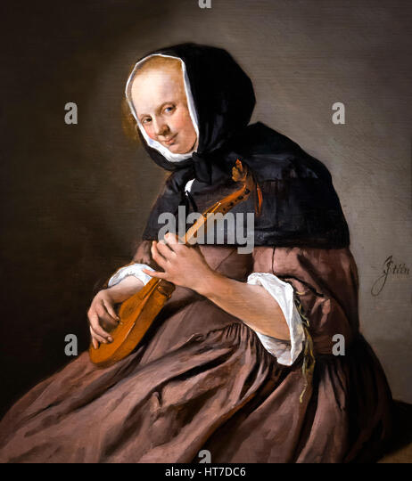 Woman Playing the Cittern, by Jan Steen, circa 1662, Royal Art Gallery, Mauritshuis Museum, The Hague, Netherlands, - Stock Image