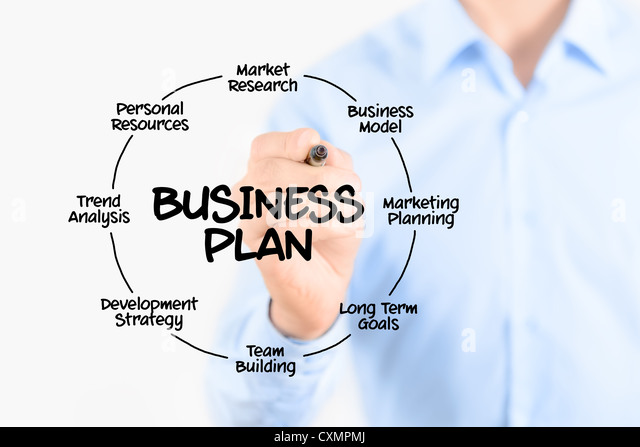 Young businessman drawing business plan concept. Isolated on white. - Stock-Bilder