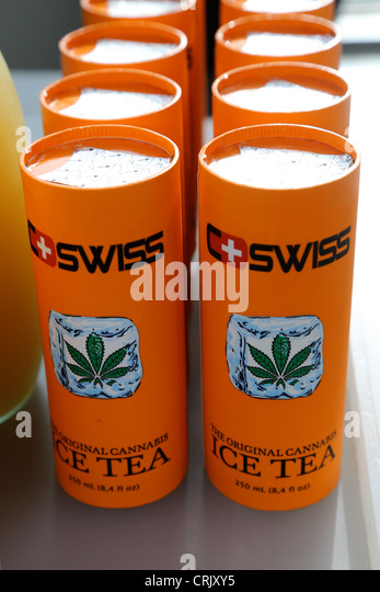 Soft drink Swiss Ice Tea added with Cannabis sirup from hemp seed - Stock Image